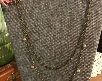 Double Chain Bead Brass Necklace