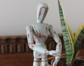 Painted wooden artist's dummy / mannequin / manikin (distressed, shabby chic style)