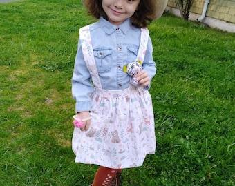Girls skirt   girls animal print skirt with shoulder straps   size 4t   toddler girls skirt