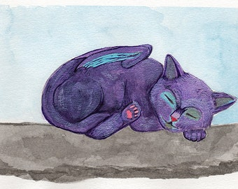 Kitten Dragon Watercolor Giclée Print