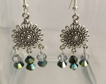 Sundial Crystal Drop Earrings