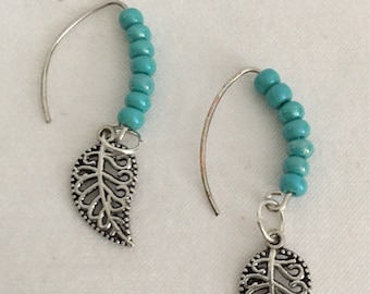 Turquoise Silver Leaf Earring