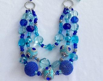 Royal Blue Layered Necklace Set