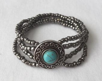Turquoise Tribal Stretch Bracelet - Pewter