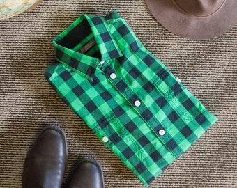 Green and black gingham shirt
