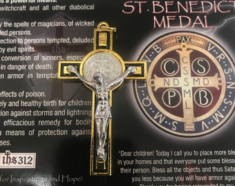 bffe7bdcd St. Benedict Crucifix 3 inch (Gold W/Black Inlay)