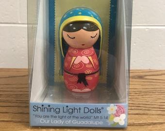 Red Shining Light Dolls Print Holy Family Heart Pants