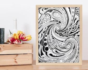 Swirls Patterns Black and White Instant Digital Download