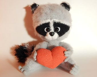 Raccoon Stuffed Animal amigurumi Plush toy knitted crochet handmade toys decorative