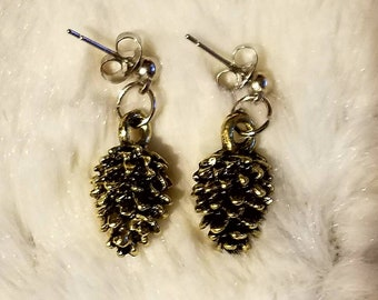 Golden Pinecone Nature Earrings