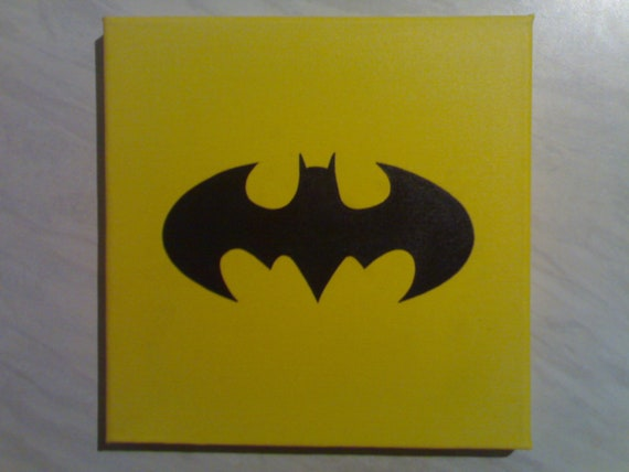 Batman Bat Signal Symbol Painting On Canvas By R Mccutcheon Etsy