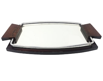 Vintage Art Deco Tray in Mirror and Wood, 1925