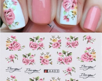Nail Art Water Decals Stickers Transfers White Pink Roses Flowers Floral (A403)