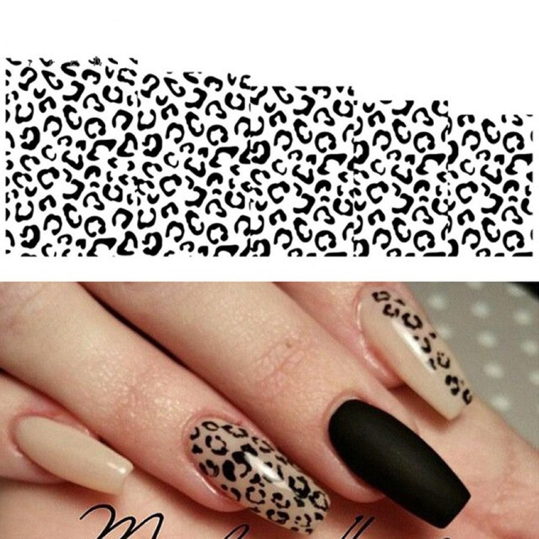 Nail Art Wasseraufkleber Aufkleber Transfers Schwarz Weiß Leopard Print  Spots Animal Print