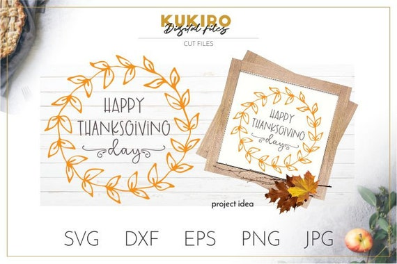 Happy Thanksgiving Day Svg Fall Wreath Svg Cut File Fall Etsy