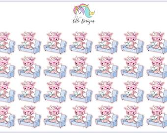DeeDee Pink Dragon on her Laptop - Character Sheet