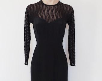 fd2c298d28e Vintage VTG 80s Black Sheer Lace Mesh Open Back Fishtail Hem Evening Dress  S! Gothic