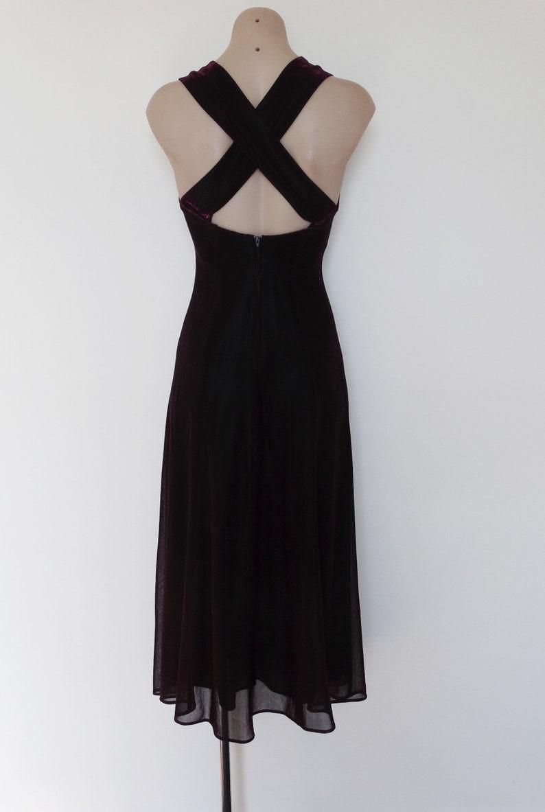 Gothic Glam Clubwear Vintage VTG 90s Y2K Metallic Hot Pink Black Mesh Criss Cross Back Maxi Dress Gown XS