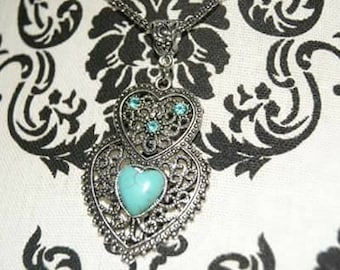 Silver Heart Pendant Necklace with Teal