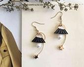 mount fuji earrings, kawaii earrings with dangly stars, pearl mountain earrings, enamel mountain earrings, fujisan earrings, whimsical gifts