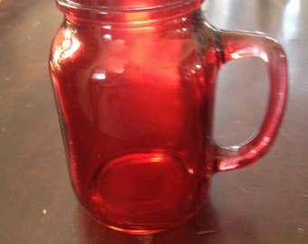 Red glass mason jar mug