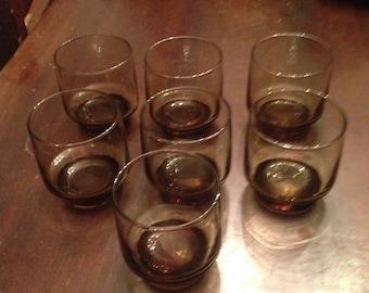 7 Vintage Smoked glasses, small glasses