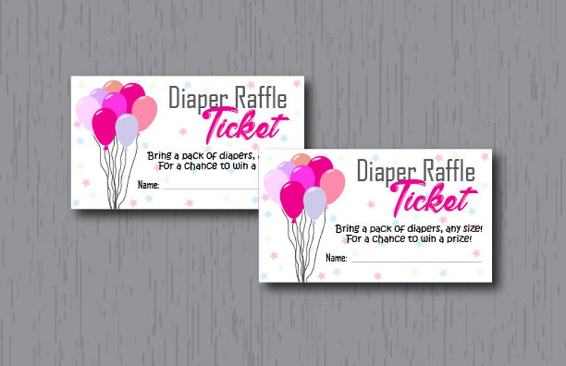 Diaper Raffle Tickets Baby Girl Pink Balloons Instant image 0