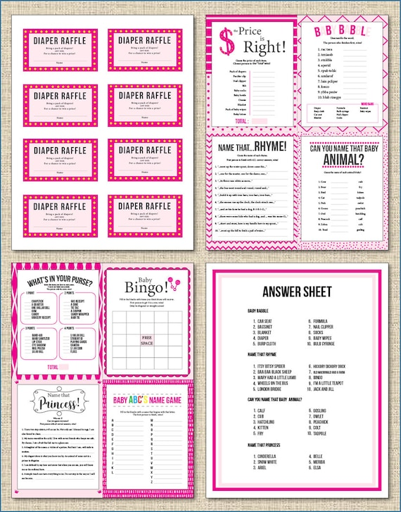 Pink Baby Shower Games Diaper Raffle 8 Games Answer Sheet Etsy