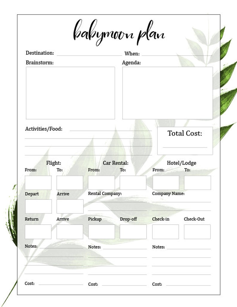 photograph about Printable Pregnancy Journal named Printable Being pregnant Magazine, Environmentally friendly, Leaves, Endless Prints, Undated Calendar, 23 Webpages