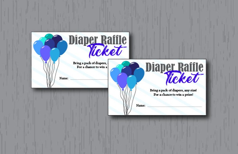 Diaper Raffle Tickets Baby Boy Blue Balloons Instant image 0