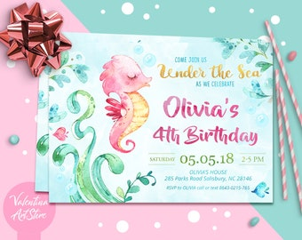 Under The Sea Birthday Invitation Printable Beach First Summer Girl N037