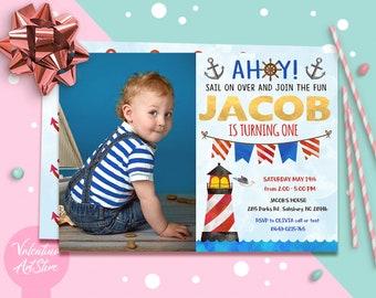 nautical 1st birthday invitation etsy