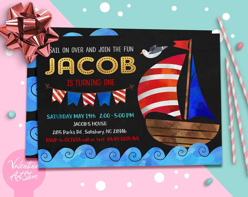 Nautical Birthday Invitation Whale Sailor Invite
