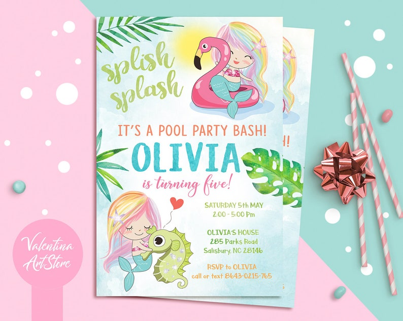 Mermaid Pool Party Birthday Invitations