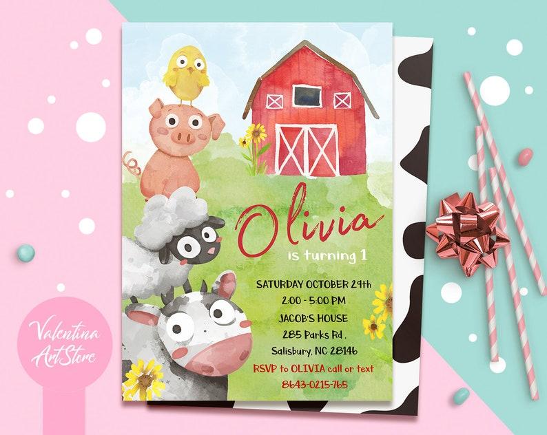 Farm Birthday Invitation Boy Editable Barn Party Digital