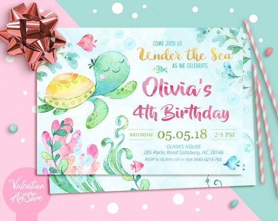 Under The Sea Birthday Invitation Under The Sea Party Etsy