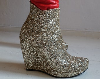 Glamrock Shoes Gold Glitter Size 38 boots