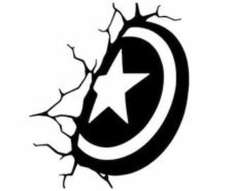 Captain America shield in wall
