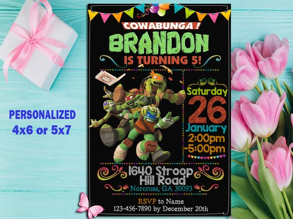 Ninja Turtle Invitation Birthday Party Card
