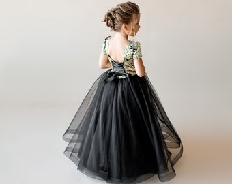 debd0f0e0 Gold flower girl dress Black junior bridesmaid dress tulle Toddler formal  dress Birthday dress Tutu flower dress Special occasion Kids dress