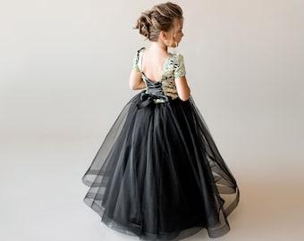 7546d995 Gold flower girl dress Black junior bridesmaid dress tulle Toddler formal  dress Birthday dress Tutu flower dress Special occasion Kids dress