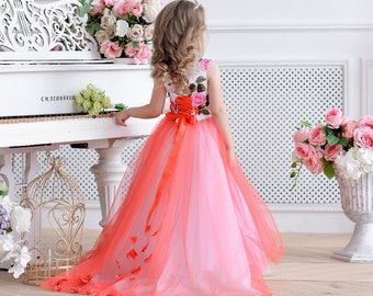 cab35175a White flower girl dress Red dress tulle Wedding dress Girl party dress Kid  dress Toddler satin dress Birthday dress Girl formal dress Tutu