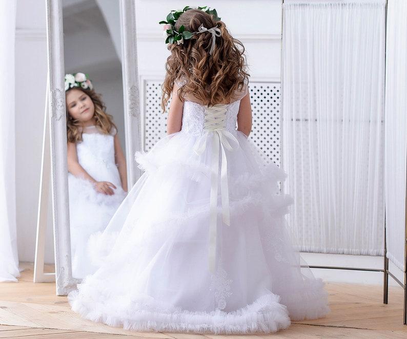 White Flower Girl Dress Toddler Tulle Dress Girl Prom Dress Etsy