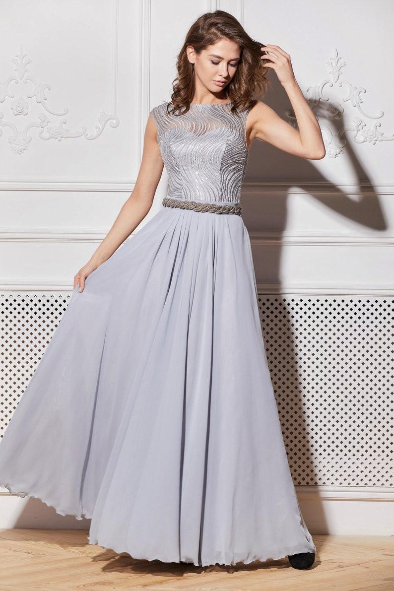 ae25e800efb Gray Evening Dress wedding dresses maxi dress wedding guest
