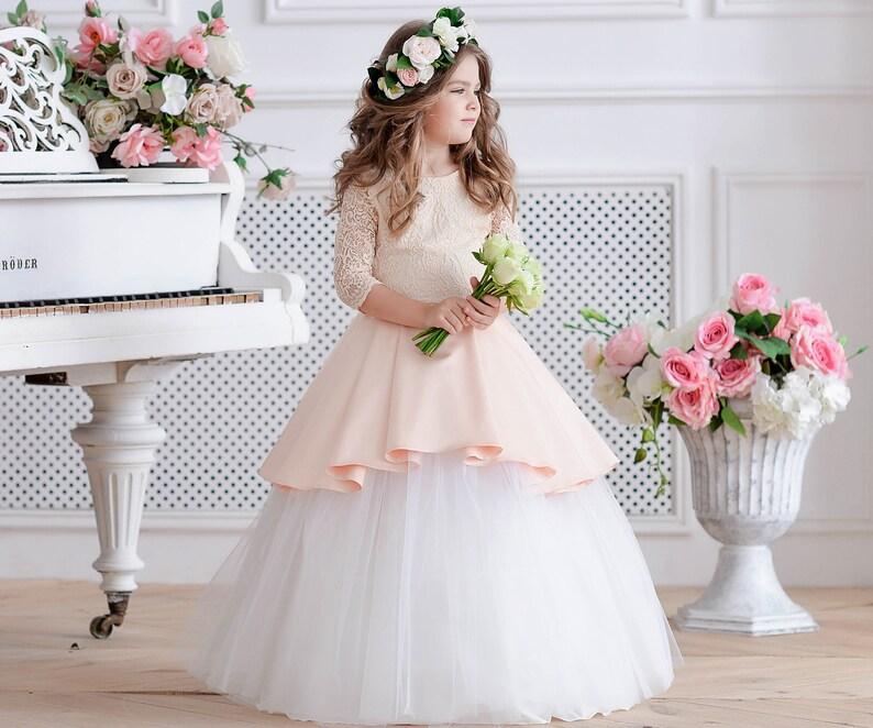 f72543d4e5db Peach flower girl dress Ivory dress tulle Wedding dress Junior | Etsy