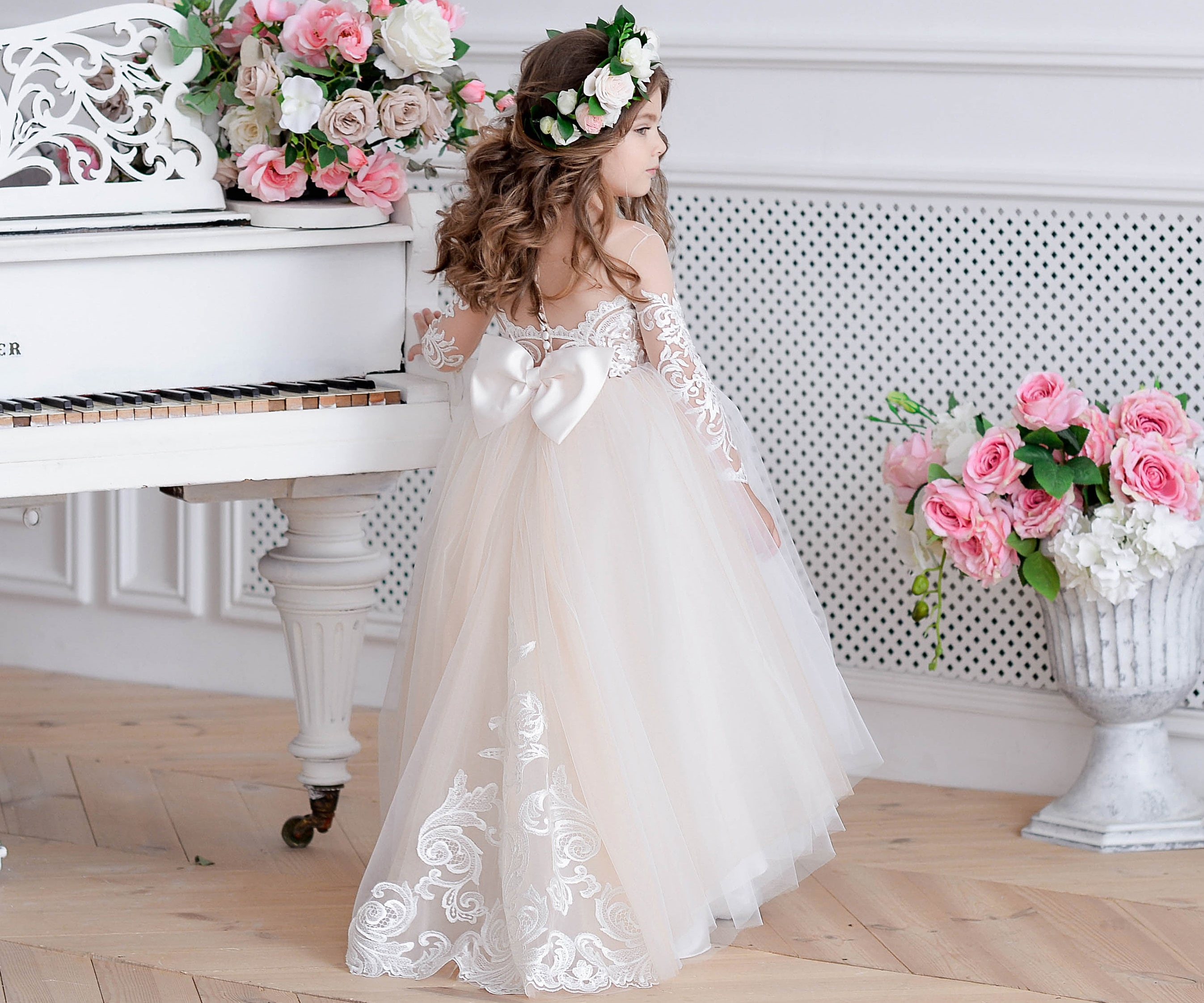 814d7bba3 Miami Ivory Lace Tulle Flower Girl Dress