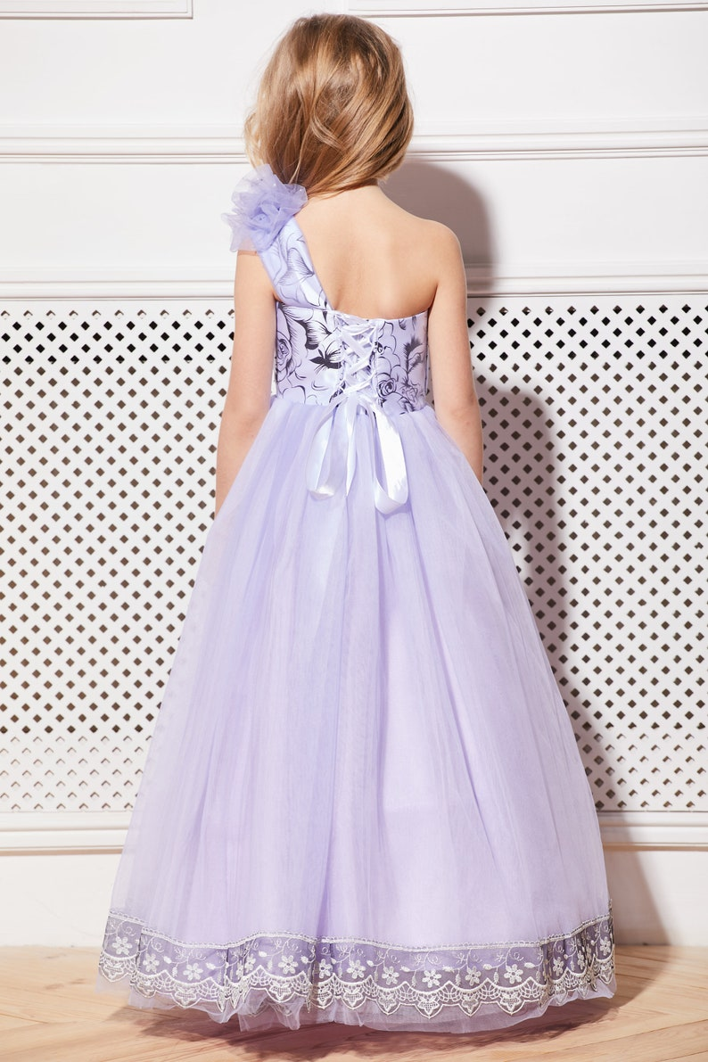 Purple flower girl dress Violet tulle dress Tutu flower dress Birthday dress Wedding flower dress Prom dress Kids dress Junior Bridesmaid