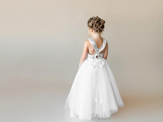 Silver Flower Girl Dress White Junior Bridesmaid Dress Toddler Etsy