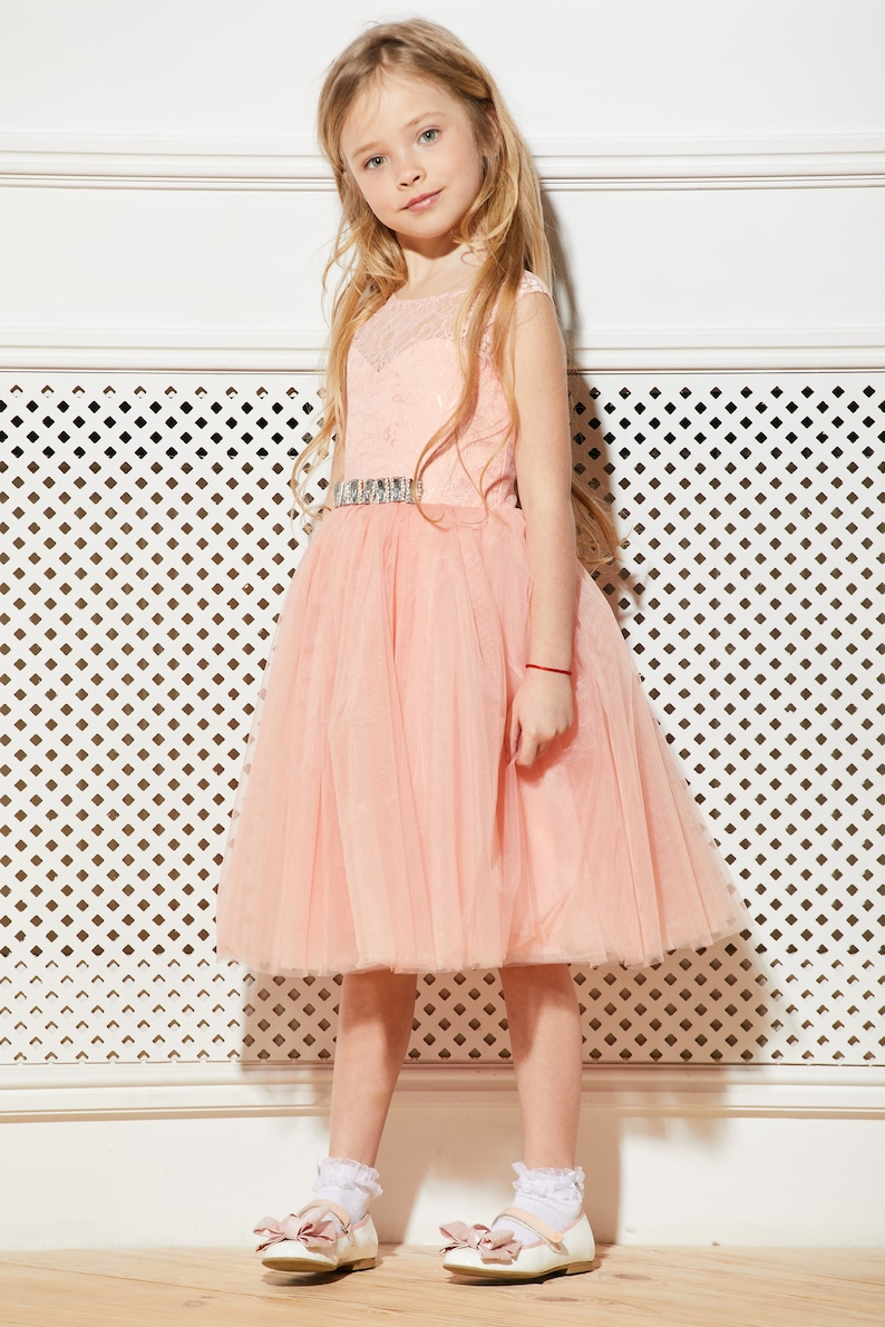 Peach flower girl dress tulle Junior bridesmaid dress lace Toddler formal dress Wedding dress Kid dress Birthday dress Lace bridesmaid dress