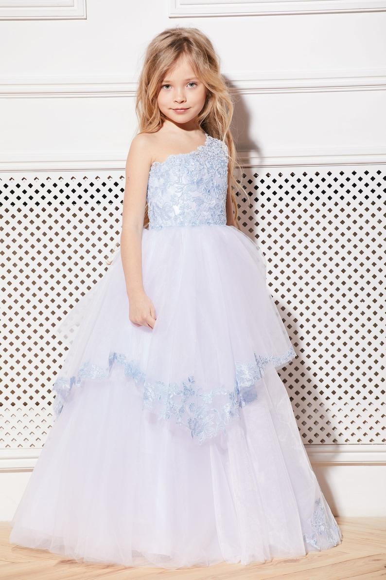 2bef5005585d1 White Blue Flower Girl Dress Cream Tulle Tutu Birthday Wedding